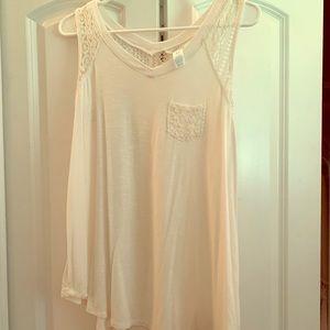 White flowy sleeveless shirt